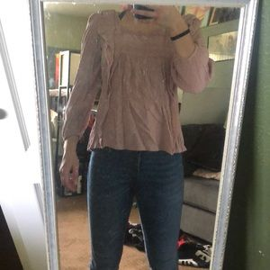 American Eagle neutral pink blouse.